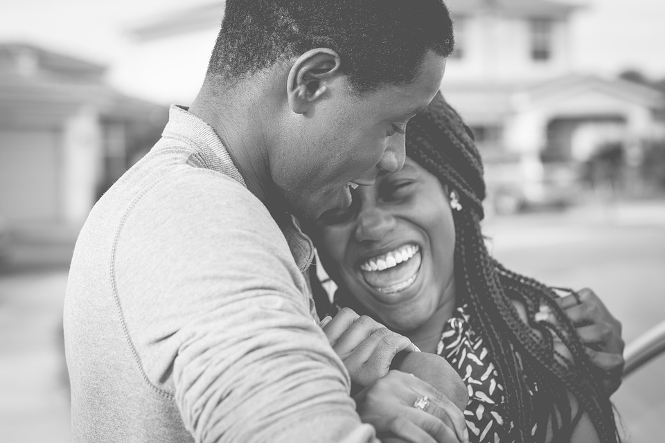 Black And White, People, Couple, Happy, Smile, Bokeh