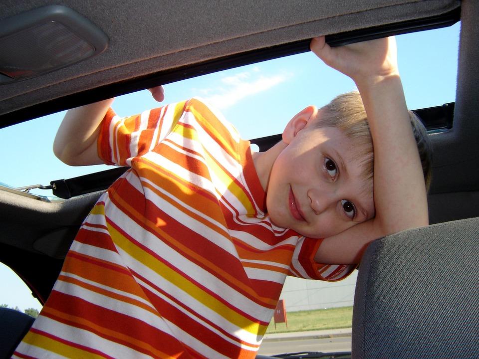 Boy, Orange, Child, Happy, Car, Portrait, Person
