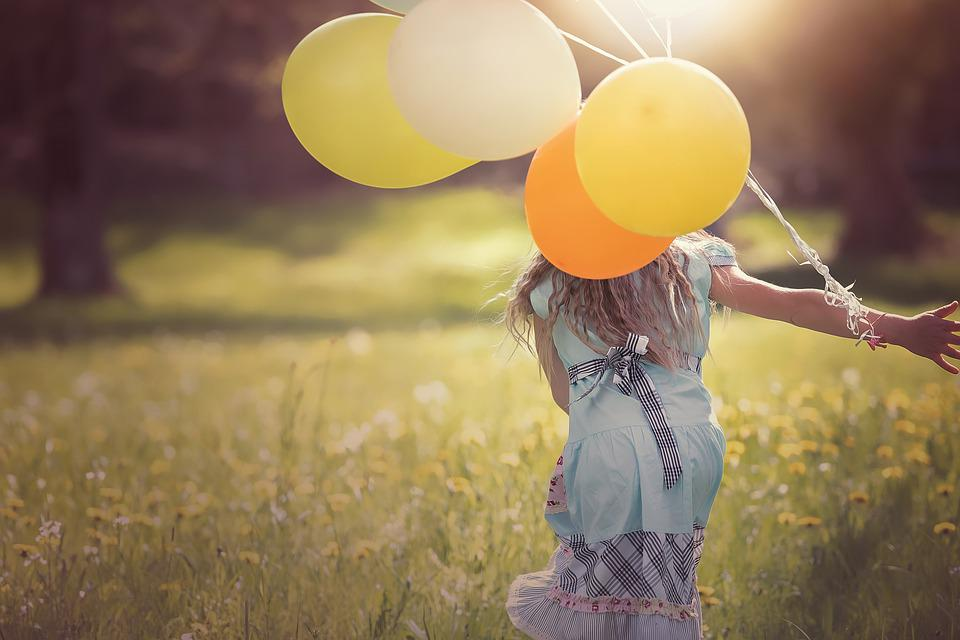 Girl, Balloons, Child, Happy, Out, Freedom, Free
