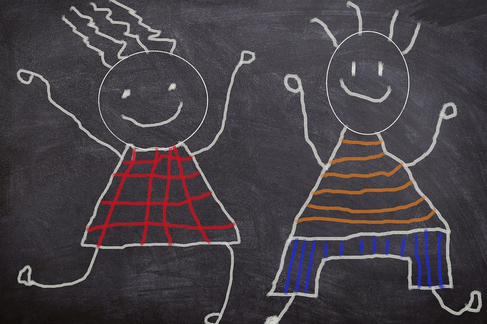 Board, Sketch, Chalk, Scribble, Children, Happy