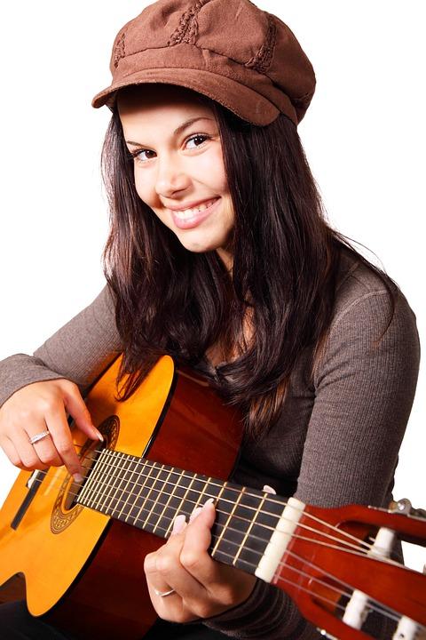 Cute, Female, Girl, Guitar, Guitarist, Happy
