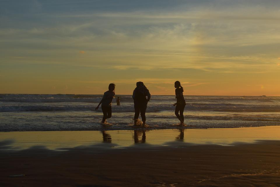 Silhouette, Sunset, Friendship, Beach, Happy, Vacation