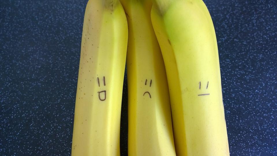 Bananas, Fruit, Happy, Yellow, Eating