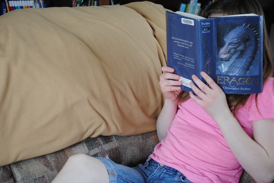 Girl, Reading, Young, Book, Education, Person, Happy