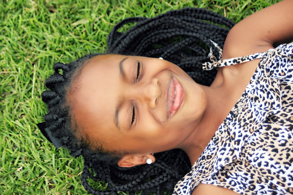 Girl, Face, African Girl, Laying Down, Outdoors, Happy