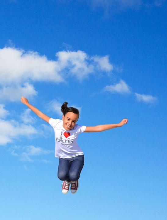 Girl, Jumping, Play, Happy, Fun, Love Paris