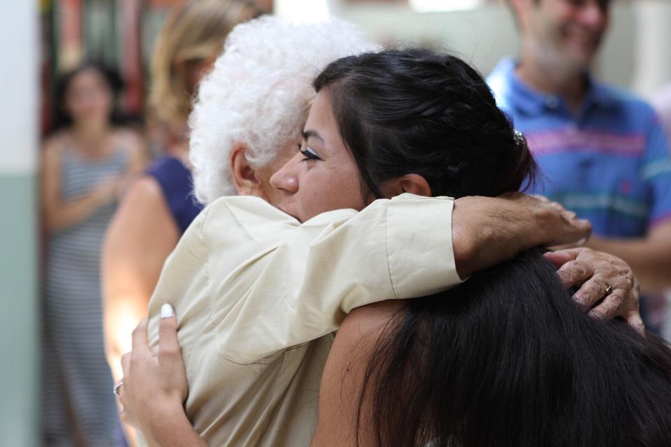 Old, Grandmother, People, Hug, Hugging, Happy, Woman
