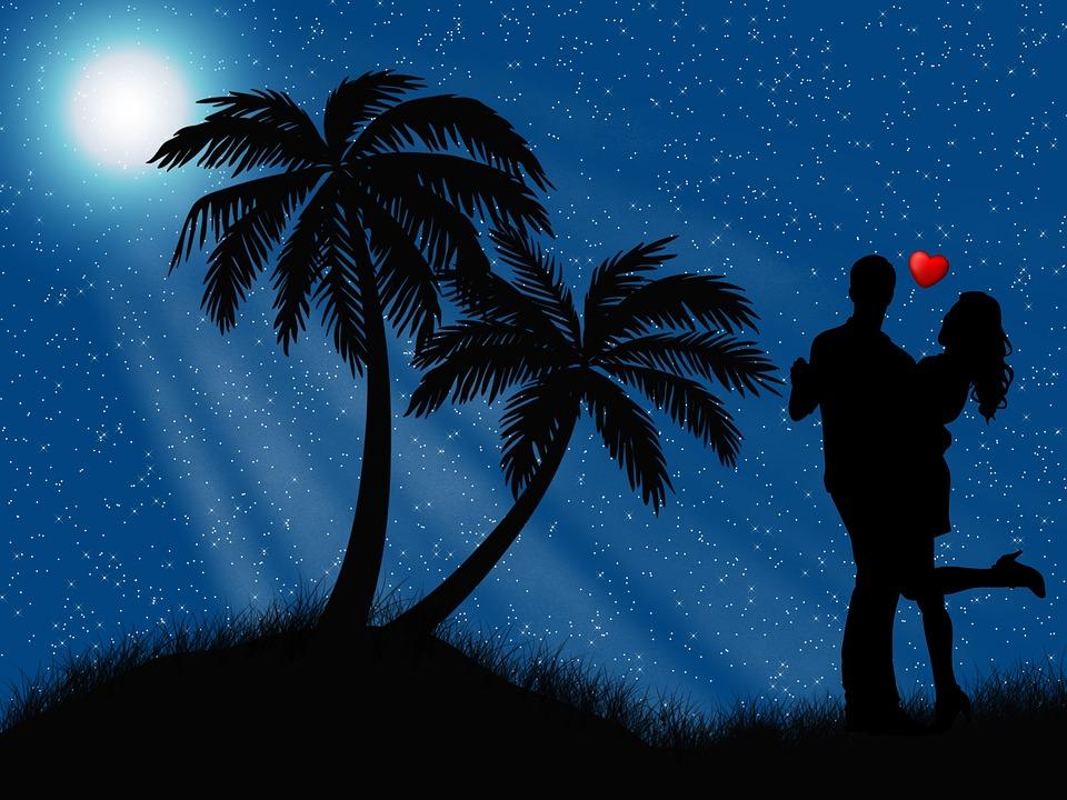 Love, Romantic, Night, Moon, Couple, Romance, Happy