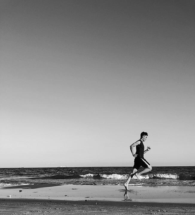 Run, Beach, Ocean, People, Fitness, Happy, Sea, Running