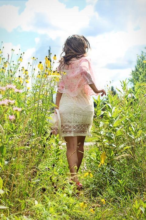 Woman, Running, Meadow, Wildflowers, Summer, Happy