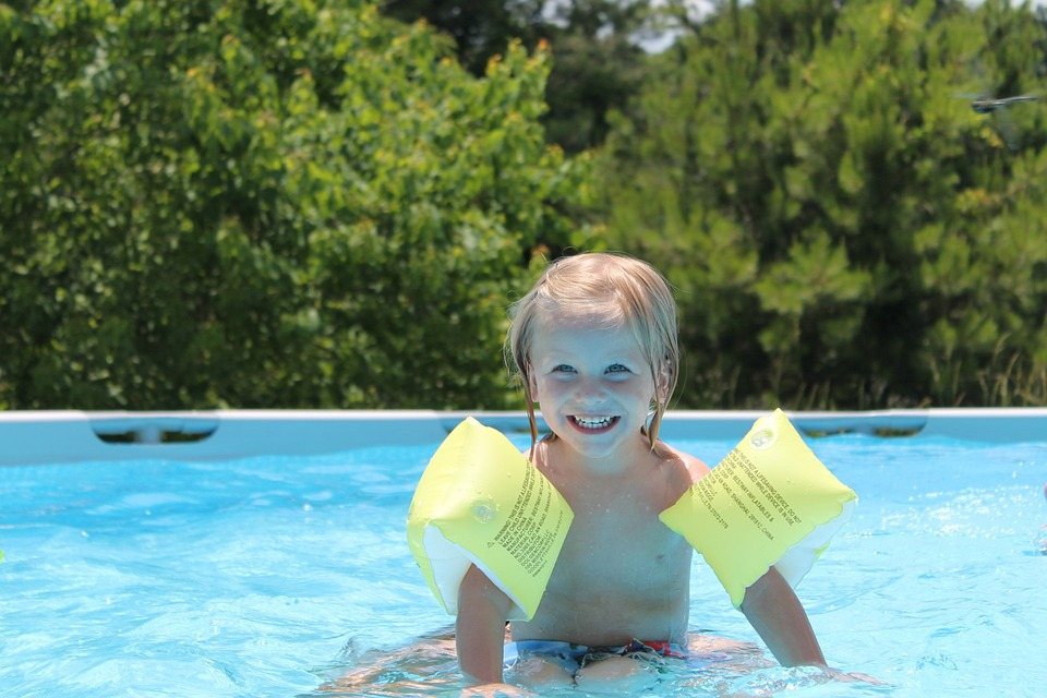 Boy, Happy, Playing, Swimming, Pool, Summer, Mother
