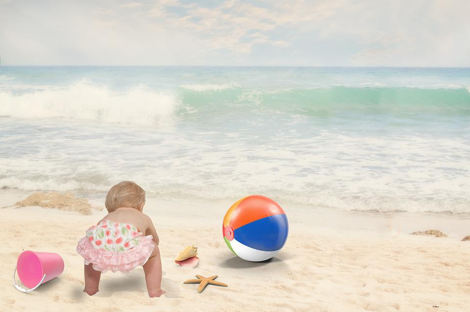Beach, Baby, Child, Summer, Fun, Happy, Vacation, Sea