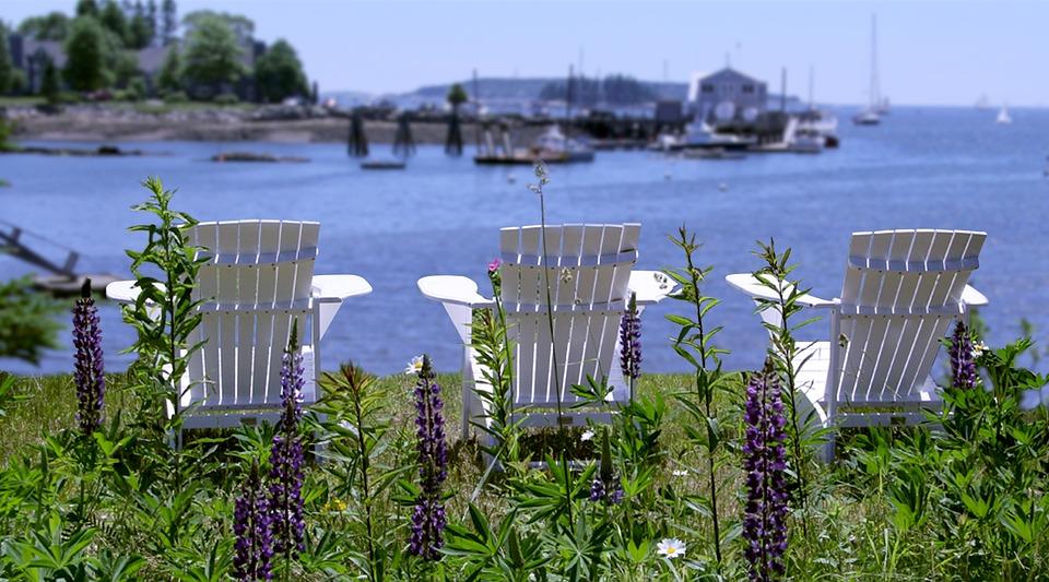 Adirondack Chairs, Relax, Harbor, Boothbay Harbor