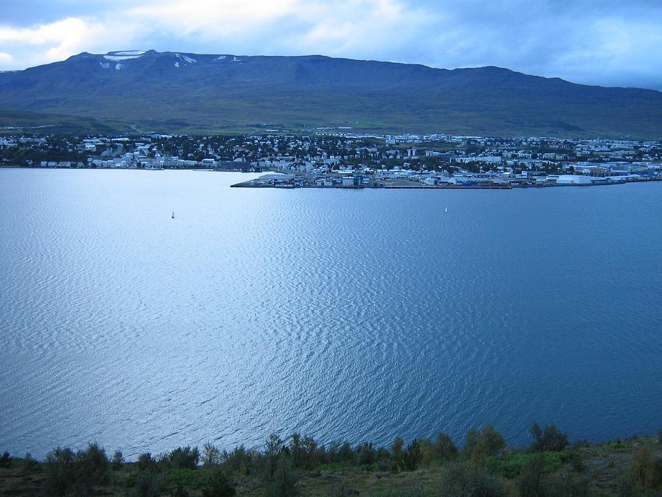 Akureyri, Iceland, Town, Mountains, Fjord, Bay, Harbor