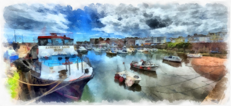 Boat, Fishing, Harbour, Paignton, Harbor, Reflection