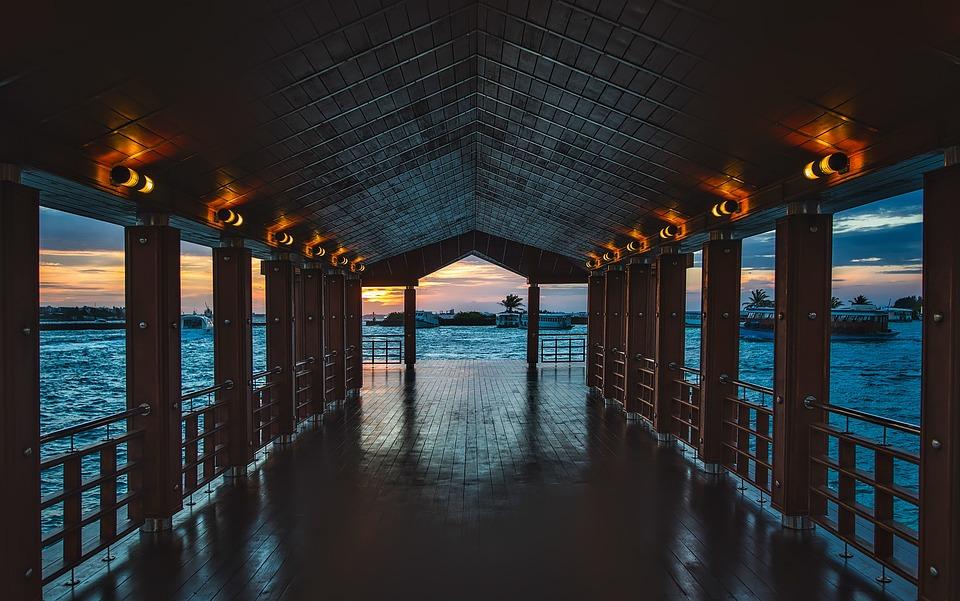 Maldives, Pier, Dock, Lights, Bay, Harbor, Reflections