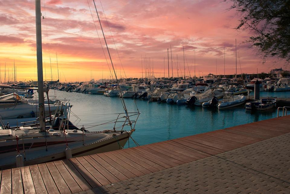 Yachts, Port, Sunset, Boats, Sailboats, Harbor, Marina