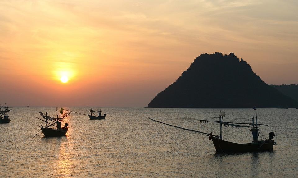Thailand, Harbor, Seaside, Boat, Sea, Seashore, Bay