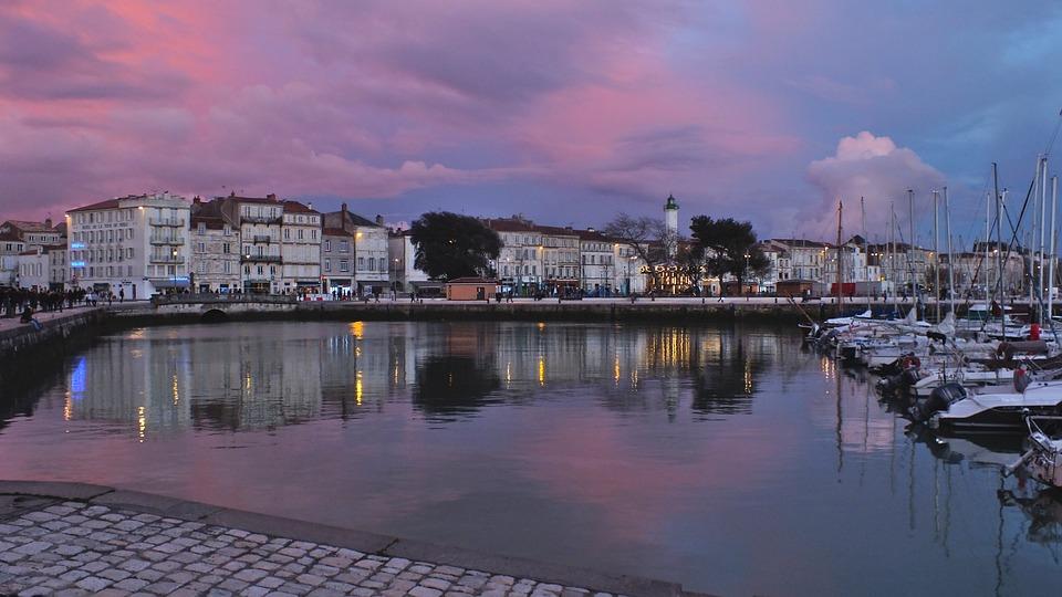 Harbour, Twilight, Boats, La Rochelle, City, Sunset