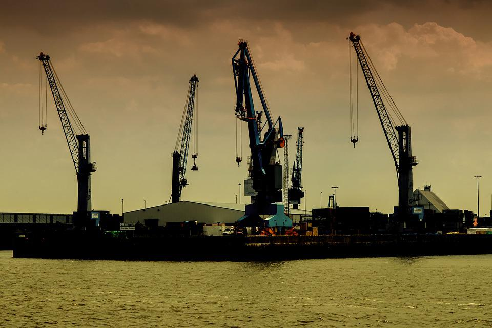 Harbour Cranes, Cranes, Port Of Hamburg, Elbe, Shipping