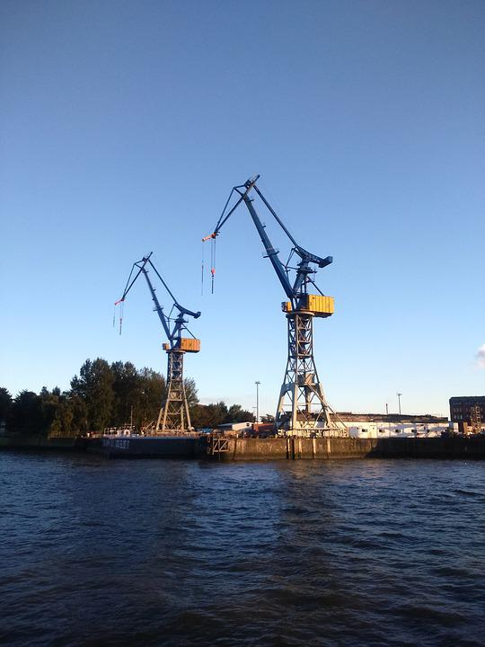 Hamburg, Port, Cranes, Harbour Cranes