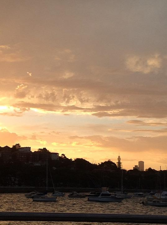 Sydney, Sky, Sunset, Harbour, Clouds, Water, Evening