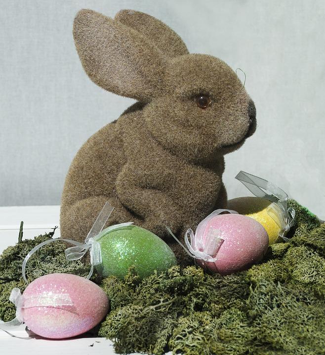 Hare, Easter Theme, Easter Eggs, Moss