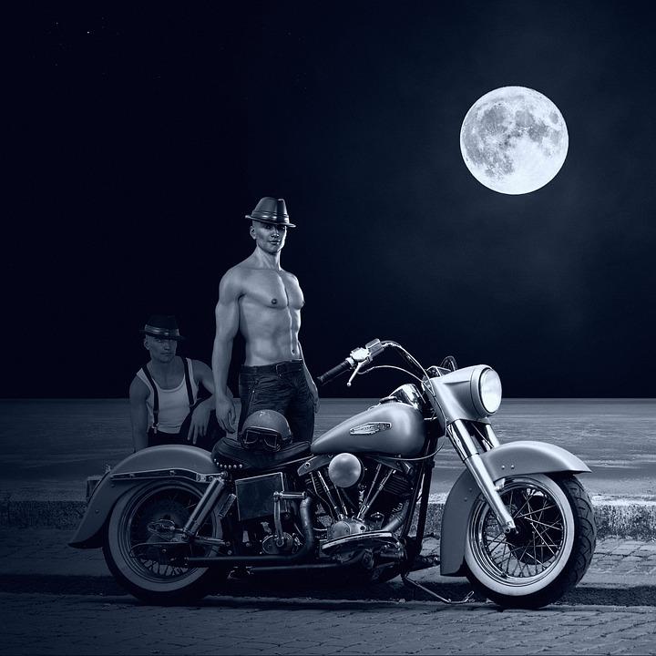 Motorcycle, Harley, Harley Davidson, Moonlight