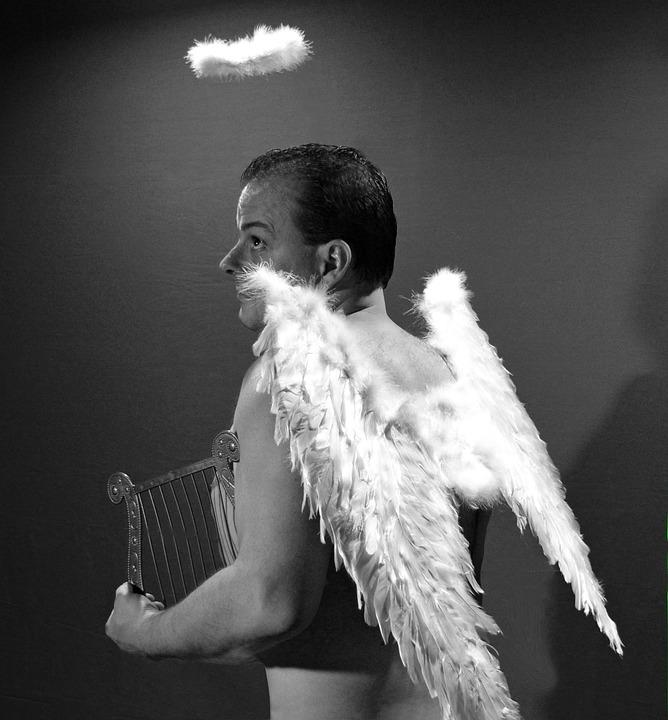 Angel, Wing, Halo, Harp, Christmas, Christmas Angel