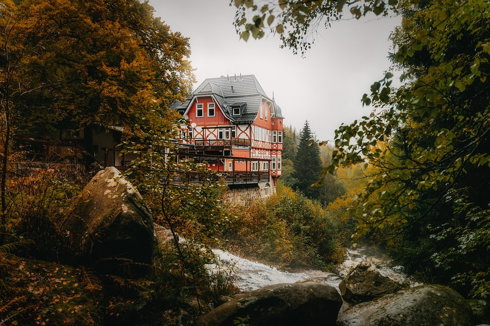 House, Forest, River, Harz, Building, Stream, Water