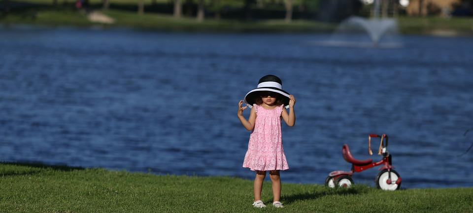 Little Girl, Hat, Bike, Dress, Sunshine, Park