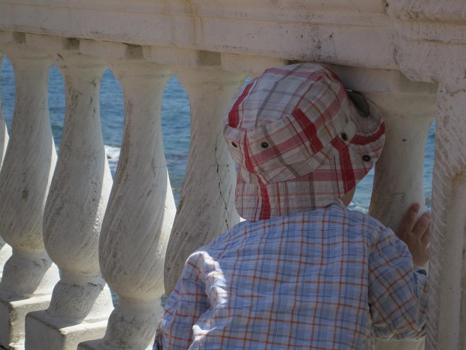 Hat, Sea, Landscape, Columns, Child