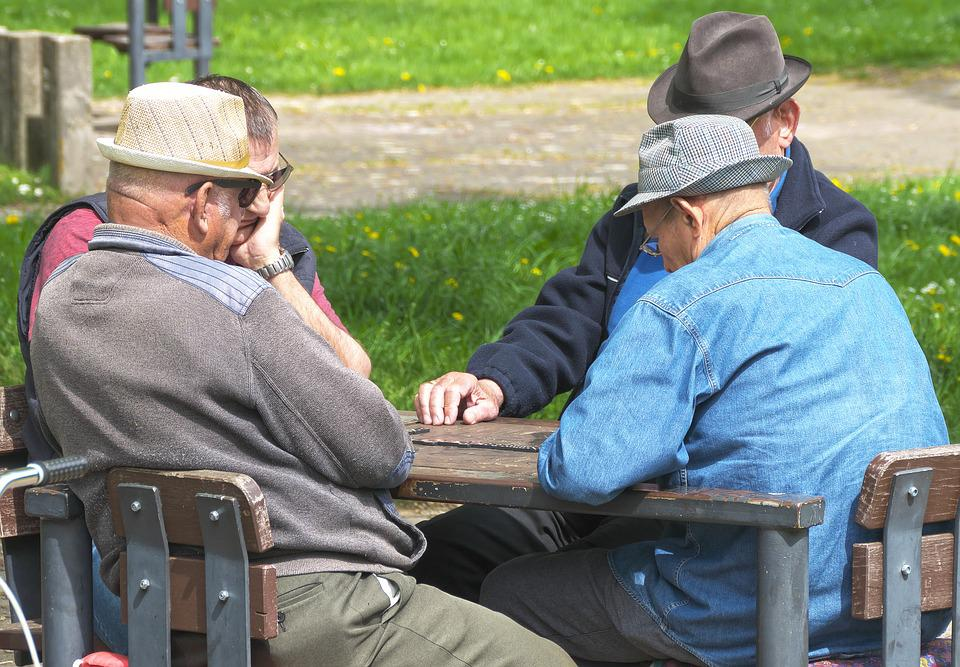 Pensioners, Men, Domino Game, Sitting, Hat, Protected