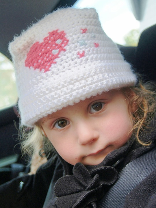 Girl, Little, Brown Eyes, Solemn, Hat, Heart, Crochet