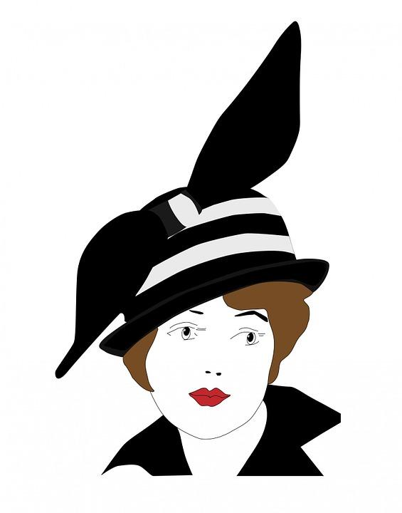 Woman, Lady, Girl, Female, Person, Vintage, Hat, Black