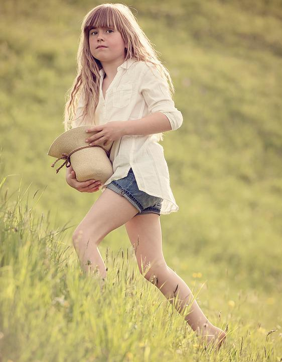 Person, Human, Child, Girl, Hat, Meadow, Nature, Fresh
