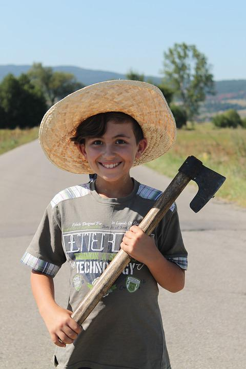 Child, Hat, Straw, Cutlass, Portrait