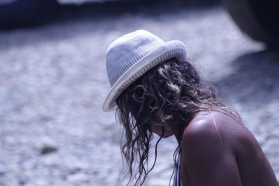 Women, Sand, Hat, River