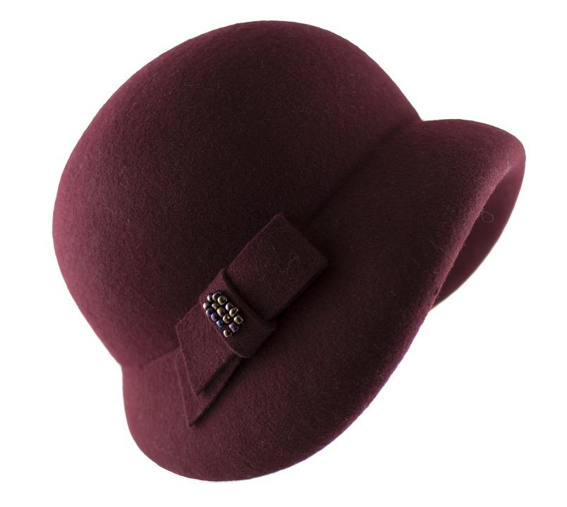 Hat Retro, Hat Womens, Hat Filcowy, Hat Burgundy, Woman