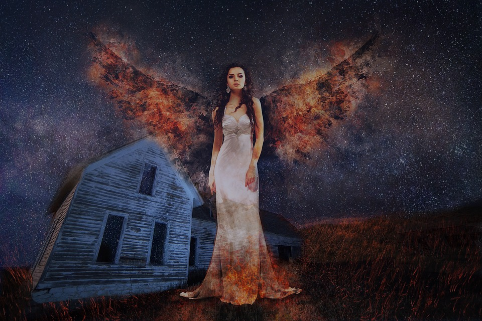 Fire, Angel, House, Haunted, Night, Prairie, Flame
