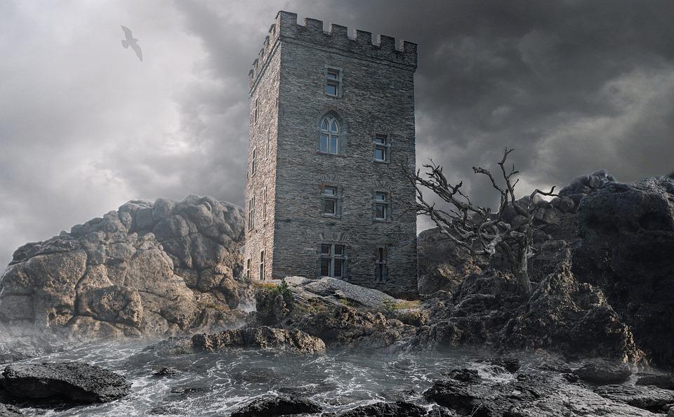 Tower, Rocks, Sea, Fantasy, Surreal, Haunted, Dark