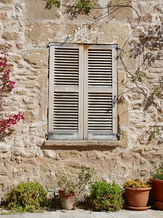 Window, Home, Hauswand, Facade, Spain, Rustic, Shutters