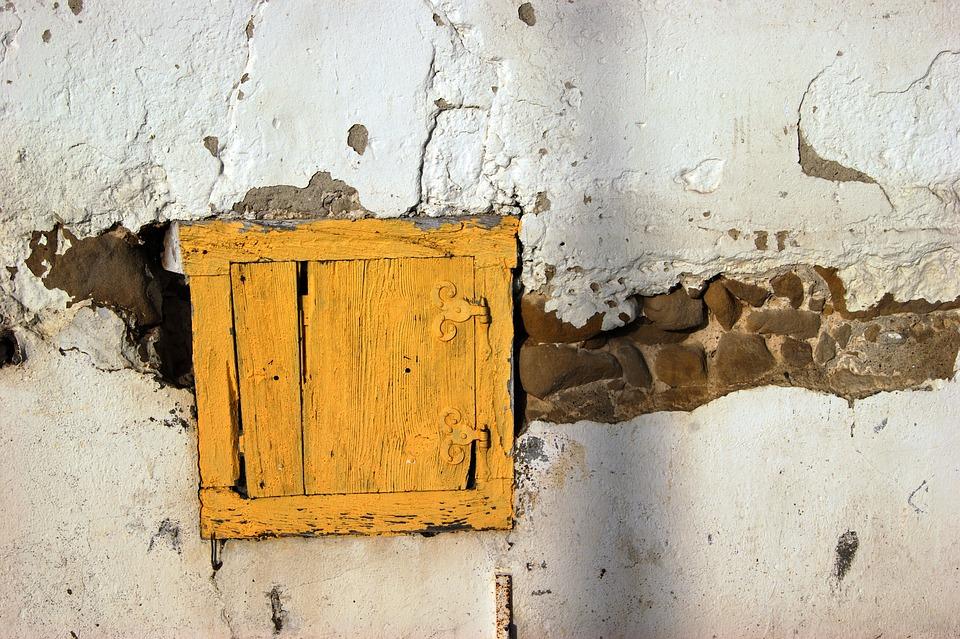 Door, Wall, Hauswand, Old, Yellow, Window, Wood