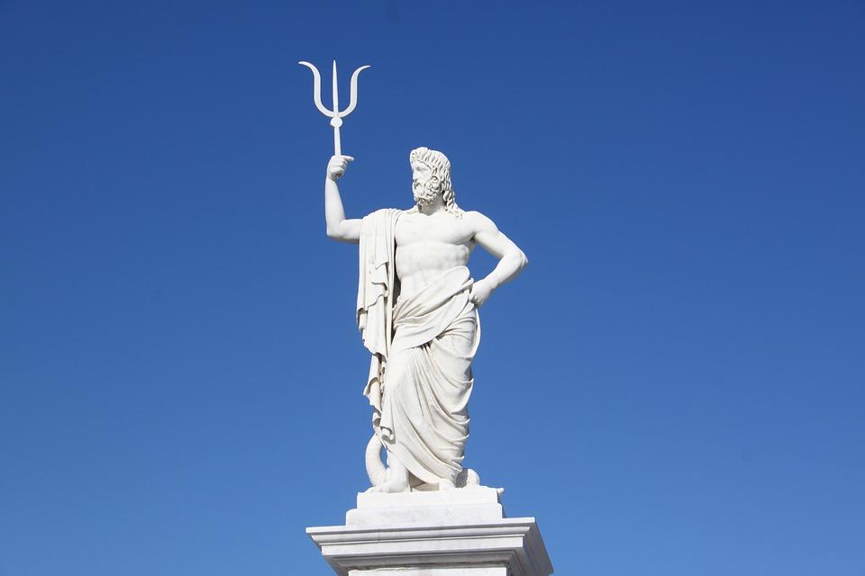 Neptune, Sculpture, Statue, Havana, Sun, Sky