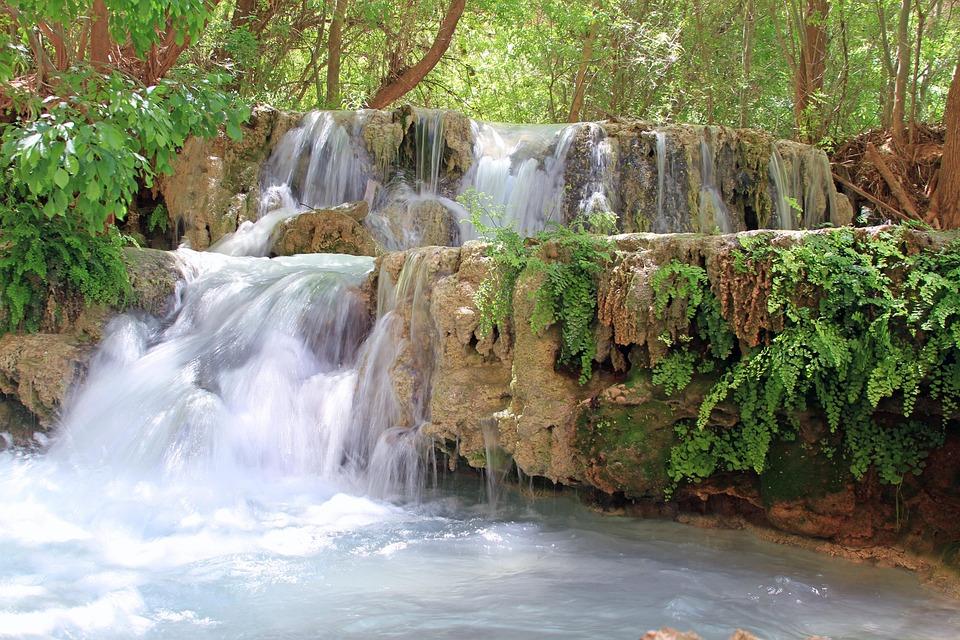 Waterfall, Water, Arizona, Havasupai, Havasu, Falls