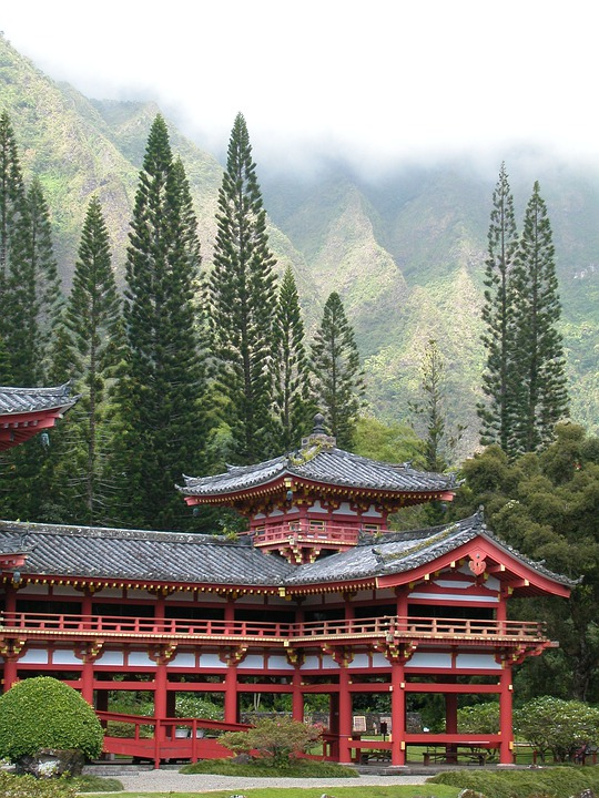 Temple, Hawaii, Trees, Architecture, Building, Landmark