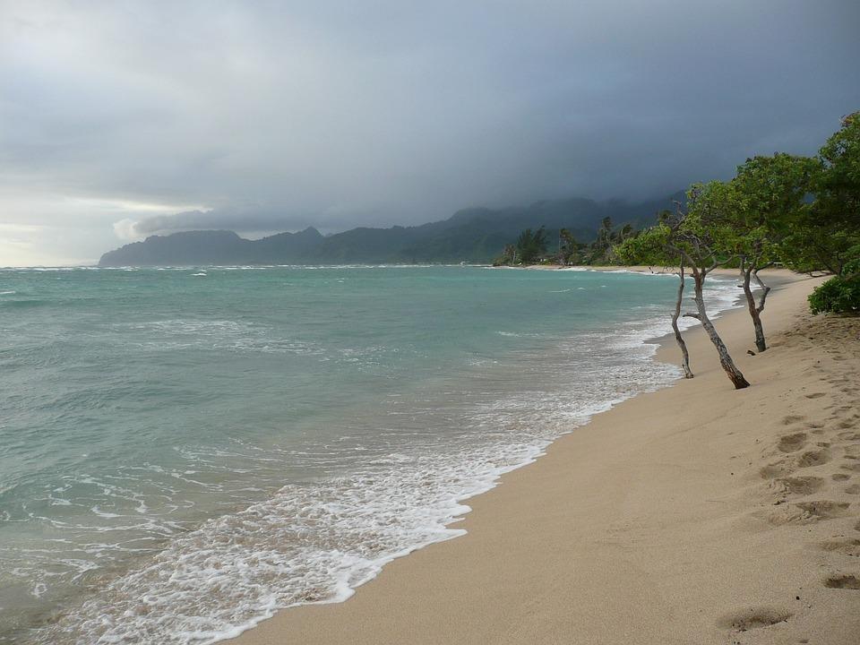 Hawaii, Overcast, Ocean, Sea, Beach, Seascape, Sky