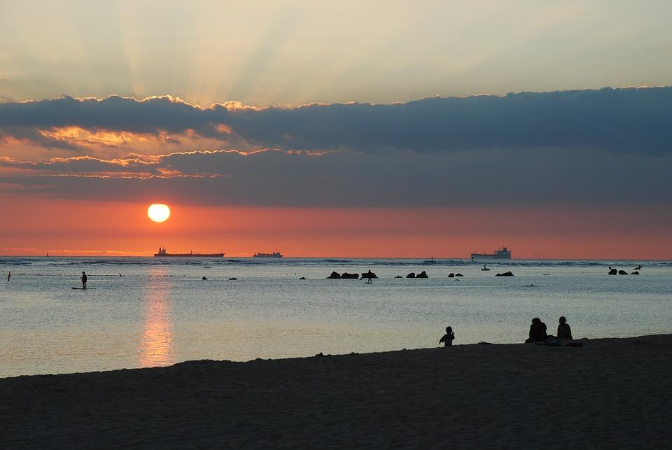 Sunset, Hawaii, Sun, Silhouette, Beach Sunset, Outdoor