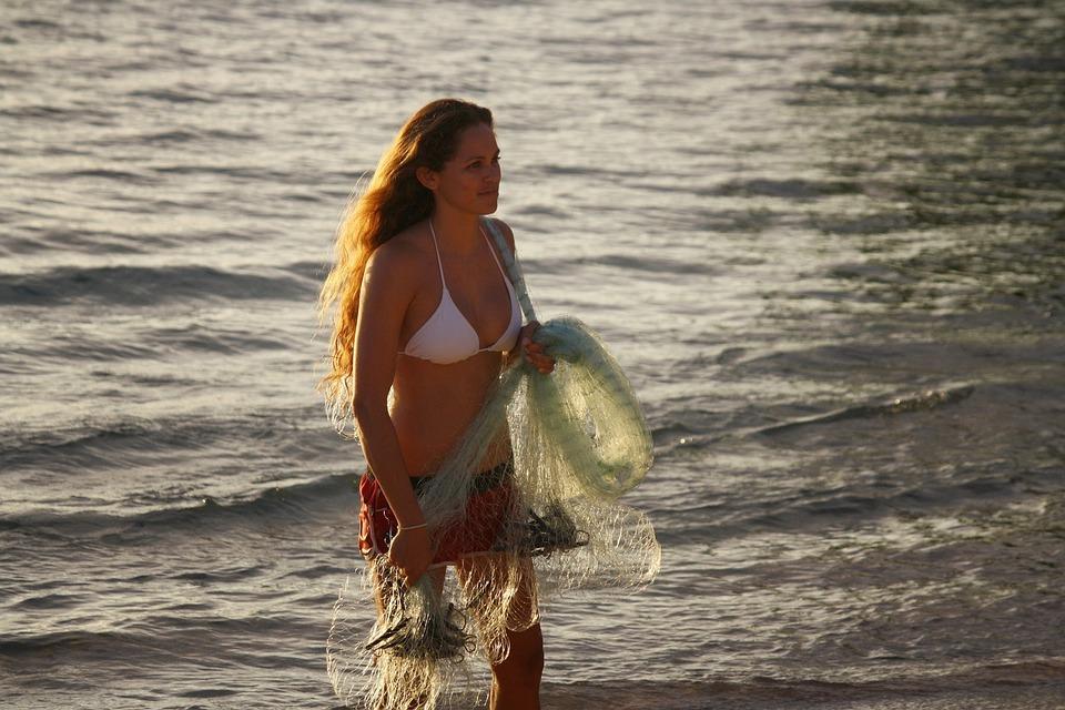 Hawaii, Fishing, Net, Woman, Tropical, Bikini, Hukilau