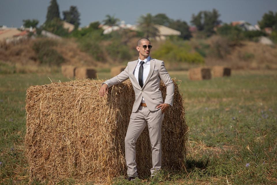 Businessman, Hay Bale, Portrait, Pose, Suit